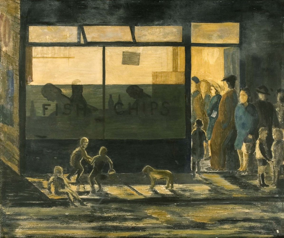 Fish and Chips by Fred Laidler, 1948. Oil on Card © Ashington Group Trustees.