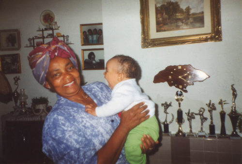 Hyacinth With Grandson Nathan At Hyacinths' House In Blurton Stoke On Trent 1991