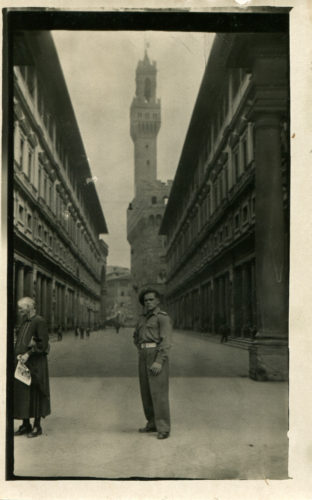 Walerian 'Val' Tyminski In Florence Italy Giotto'S Bell Tower In The Background 1946